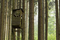 Hunting or birdwatching tower in the woods forrest Stock Images