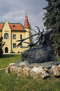 The hunting chateau with the statue of a deer bronze was created by alois strobl in is located in topolcianky s park western Stock Image