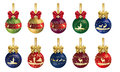 Hunting christmas decoration with ribbon series decorations Royalty Free Stock Photography