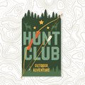 Hunting club. Vector. Concept for shirt or label, print, stamp or tee. Vintage typography design with frame, hunting bow Royalty Free Stock Photo