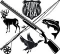 Hunting and fishing emblem logo Royalty Free Stock Photo