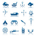 Hunting and fishing icon set Royalty Free Stock Image