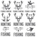 Hunting and fishing labels and design elements