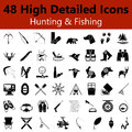 Hunting and Fishing Smooth Icons Royalty Free Stock Photo