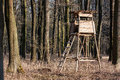 Hunting forest lookout tower in the leafy woods Royalty Free Stock Photography
