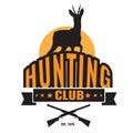 Hunting or hunter club symbol logo with deer and gun