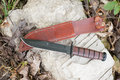 Hunting knife with leather case Royalty Free Stock Photo