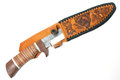 Hunting knife with leather case on white background Royalty Free Stock Photo
