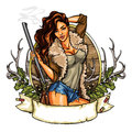 Hunting label with pretty woman holding shot gun Royalty Free Stock Photo