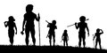 Hunting party editable vector silhouettes of cavemen hunters with each figure as a separate object Stock Images