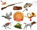 Hunting set. Shotgun, dog, duck, fishing, horn, hat, knife. vector icon