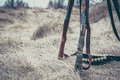 Hunting shotguns with ammunition belt on dry grass as hunting background Royalty Free Stock Photo
