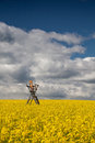 Hunting tower on the rape field flowers of oil in rapeseed with Royalty Free Stock Photography