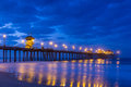 The Huntington Beach pier at sunrise Royalty Free Stock Photo