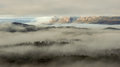 Huon valley morning fog lifting over the tasmania Royalty Free Stock Images