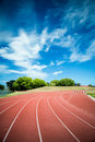 Hurdle on the running track Royalty Free Stock Photo