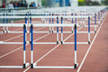 Hurdle on the track empty close up Stock Image