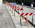 Hurdles in the construction site during the roadworks for laying of optical fibre Stock Photography