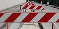 Hurdles in the construction site during the roadworks for laying of optical fibre Royalty Free Stock Image