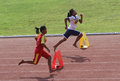 Hurdles elementary students follow at a stadium in the city of solo central java indonesia Stock Photography