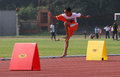 Hurdles elementary students are practicing in a stadium in the city of solo central java indonesia Stock Photo