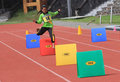 Hurdles race elementary school students are following the at a stadium in the city of solo central java indonesia Stock Images