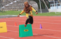 Hurdles race elementary school students are following the at a stadium in the city of solo central java indonesia Royalty Free Stock Photos