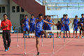Hurdles students majoring in sport being practiced in a stadium in the city of solo central java indonesia Stock Photography