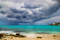 Hurricane approaches caribbean powerful island Royalty Free Stock Photography