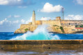 Hurricane in Havana and the castle of El Morro Stock Photo