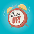 Hurry up alarm clock in retro cartoon style Royalty Free Stock Photo