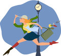 Hurry up cartoon of a young woman in a running half dressed and loosing stuff from her purse Stock Photos