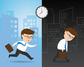 Hurrying to work and Exhausted Businessman Royalty Free Stock Photo