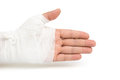 Hurted hand on white with clipping path Royalty Free Stock Photo