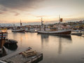 Husavik harbour iceland town in northern Stock Images