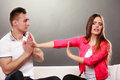 Husband apologizing wife. Angry upset woman. Royalty Free Stock Photo