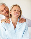 Husband giving his wife a shoulder massage Royalty Free Stock Photo