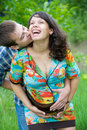 Husband kissing beautiful pregnant wife Stock Photography