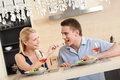 Husband and wife have romantic dinner Stock Photography