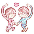 Husband and Wife Mascot love gesture. Home and Fam Royalty Free Stock Photo