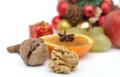 Husked nut and other fruits nuts spice for celebrations Royalty Free Stock Images