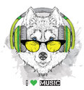 Husky in glasses and headphones. Vector illustration.
