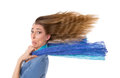 Hustle and bustle woman with hair on wind isolated on white Royalty Free Stock Image