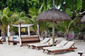 Hut Beach Bed and Transats Mauritius Royalty Free Stock Images