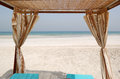 Hut on the beach of luxury hotel Royalty Free Stock Image