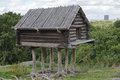 Hut on chicken legs small wooden fairy skansen park stockholm sweden Royalty Free Stock Photo