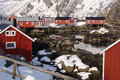 Hut on the fjord lofoten islands during winter Royalty Free Stock Images