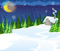 Hut in the forest house winter coniferous winter night scene Royalty Free Stock Photo
