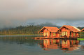 The Hut in Lake Khao Sok national park. Royalty Free Stock Photography