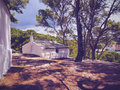 Hut on minorca white in the forest menorca balearic islands spain Stock Photography